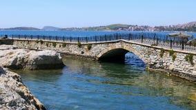 Empty bridge of foca castle, izmir, turkey stock video footage