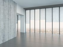Empty bright air room with a glass wall Royalty Free Stock Image