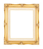 Empty bright gold gilded wood with inner canvas vintage frame on Stock Photo