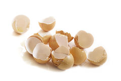 Empty broken eggshells on white Royalty Free Stock Photography