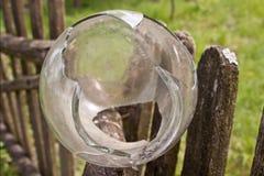 Empty broken glass jar. Stock Photos