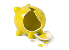 Empty broken piggybank Stock Image