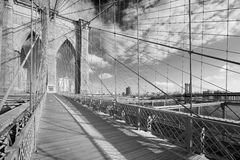 Empty Brooklyn Bridge footpath in a sunny day, black and white Stock Photos
