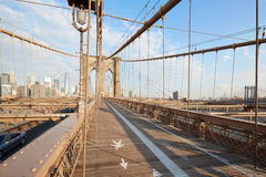 Empty Brooklyn Bridge perspective view in the morning, New York Stock Photo