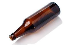 Empty brown beer bottle Royalty Free Stock Photos