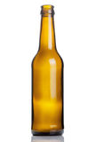 Empty brown beer bottle isolated on white Royalty Free Stock Photography