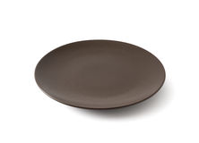 Empty Brown Ceramic Plate Royalty Free Stock Photos