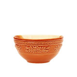 Empty brown clay bowl isolated on white Stock Photos