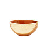 Empty brown clay bowl isolated on white Royalty Free Stock Images