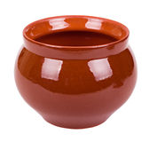 The empty brown clay pot Stock Photography