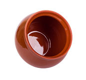 The empty brown clay pot Royalty Free Stock Image