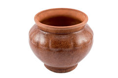 Empty brown clay pot Royalty Free Stock Photography