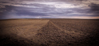 Empty, brown and cloudy field. Empty, brown and cloudy country field Stock Images