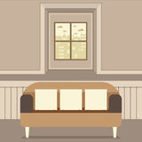 Empty Brown Couch In Front Of Window Stock Images