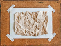 Empty brown Crumpled paper on Particle board Royalty Free Stock Photos