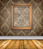 Empty Brown Damask Room With Bare Stock Image