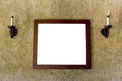 Empty brown interior  windows and picture frame Royalty Free Stock Image