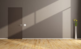 Empty Living Room With Brown Wall Stock Illustration ...