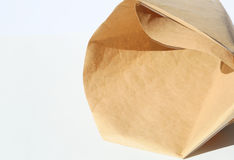 Empty brown paper bag stock photos