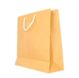 Empty brown paper bag isolated on white Royalty Free Stock Images