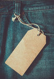 Empty brown paper tag of jean. Vintage color effect style Stock Photos