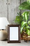 Empty brown picture frame on wooden background. Empty brown vertical picture frame, green plants and table lamp on old wooden gray textured background. Home royalty free stock images