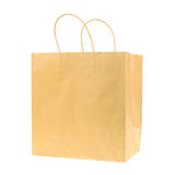 Empty brown recycled paper shopping bag isolated on white backgr Stock Image