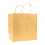 Empty brown recycled paper shopping bag isolated on white backgr Royalty Free Stock Photos