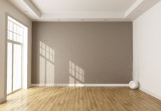 Empty brown room. With window and parquet - rendering Stock Image