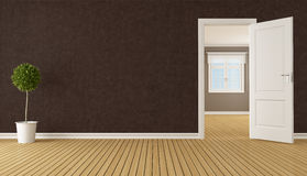 Empty brown room with open door Royalty Free Stock Image