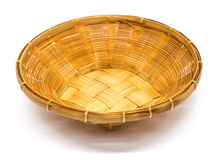 Empty brown wicker woven basket isolated Royalty Free Stock Photography
