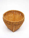 Empty brown wicker woven basket isolated Stock Images