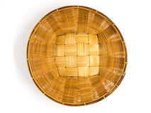 Empty brown wicker woven basket isolated Stock Photos