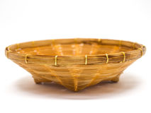 Empty brown wicker woven basket isolated Stock Photo