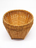 Empty brown wicker woven basket isolated Royalty Free Stock Image