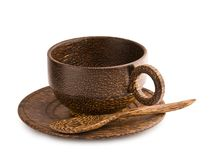 Empty brown wooden cup of teak tree Stock Photography