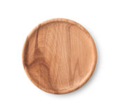 Empty Brown Wooden Plate , Clipping path Stock Image