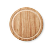 Empty Brown Wooden Plate Stock Image