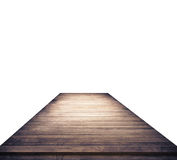 Empty brown wooden table top on white background.  Royalty Free Stock Photo