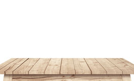 Empty brown wooden table on white background Royalty Free Stock Photo