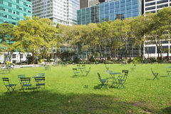 Empty Bryant Park in New York City Royalty Free Stock Photo