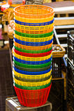 Empty bucket,market. Colorful empty plastic buckets on a market Royalty Free Stock Image