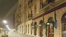 Empty budapest street at night. In the winter royalty free stock images