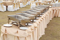 Empty buffet trays ready for service Royalty Free Stock Images