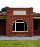 Empty building made out of red brick royalty free stock photo