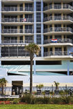 Empty Building & Palm Tree, Gulf Coast Stock Images