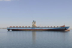 Empty Bulk Cargo Ship Waiting the High Tide Royalty Free Stock Photo