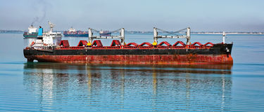 Empty bulk carrier cargo ship Stock Photo