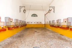 Empty bull stable Stock Photo