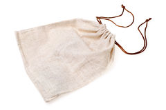 Empty burlap pouch. On white background royalty free stock photography
